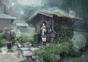 Rating: Safe Score: 85 Tags: black_hair building forest grass kneehighs original rain sakeharasu scenic seifuku short_hair skirt tree water wink User: otaku_emmy