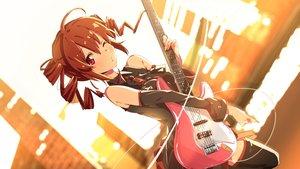 Rating: Safe Score: 169 Tags: brown_hair domo1220 guitar instrument kasane_teto red_eyes thighhighs utau wink User: Flandre93