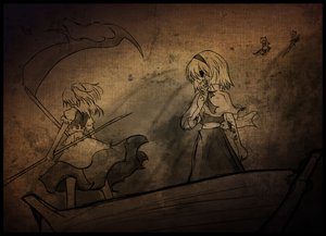 Rating: Questionable Score: 62 Tags: alice_margatroid blood boat brown doll monochrome onozuka_komachi scythe shanghai_doll sword touhou weapon yam-potong User: Dust
