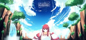Rating: Safe Score: 75 Tags: clouds computer logo long_hair nas_(z666ful) red_eyes red_hair rin_(shelter) shelter sky stars tree water waterfall User: Dummy