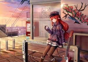 Rating: Safe Score: 68 Tags: arknights boots braids clouds drink graffiti guitar hat horns industrial instrument long_hair pantyhose phone pointed_ears red_eyes red_hair sechka skirt sky sunset vigna_(arknights) User: BattlequeenYume