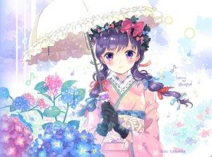 Rating: Safe Score: 41 Tags: blue_hair bow braids flowers gloves hat japanese_clothes kimono original purple_eyes ribbons takeda_mika twintails umbrella watermark User: RyuZU