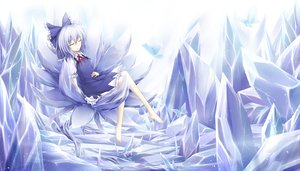 Rating: Safe Score: 100 Tags: animal barefoot blue_hair bow butterfly cirno cloudy.r dress fairy flowers ribbons short_hair sleeping snow touhou white User: Maboroshi