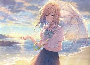 Rating: Safe Score: 77 Tags: beach blonde_hair blush bow clouds green_eyes long_hair original rain scan seifuku skirt sky tagme_(artist) umbrella water User: RyuZU