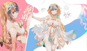 Rating: Safe Score: 110 Tags: aqua_eyes blonde_hair bow braids breasts cleavage fate/grand_order fate_(series) headdress jeanne_d'arc_(fate) long_hair panties salmon88 see_through thighhighs underwear User: BattlequeenYume