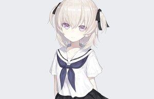Rating: Safe Score: 95 Tags: capriccio gray gray_hair loli original purple_eyes ribbons school_uniform short_hair skirt third-party_edit twintails User: otaku_emmy