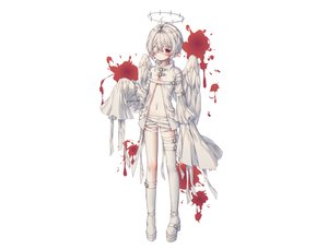 Rating: Safe Score: 68 Tags: albinoraccoon all_male angel bandage blood boots eyepatch gray_hair halo male navel original pointed_ears red_eyes white User: sadodere-chan