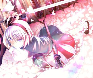Rating: Safe Score: 27 Tags: katana konpaku_youmu sword touhou weapon User: Cacha