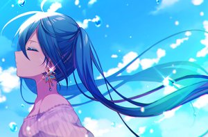 Rating: Safe Score: 95 Tags: blue_hair close clouds hatsune_miku hazakura_chikori long_hair sky twintails vocaloid water User: RyuZU