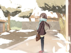 Rating: Safe Score: 56 Tags: original scarf sky_(freedom) snow thighhighs User: Wiresetc