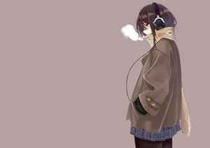 Rating: Safe Score: 153 Tags: brown_eyes brown_hair headphones machimura_komori original pantyhose scarf skirt User: Flandre93
