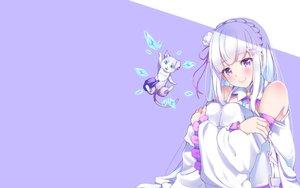 Rating: Safe Score: 57 Tags: animal cat emilia flowers long_hair nanamira_bi puck purple re:zero_kara_hajimeru_isekai_seikatsu ribbons white_hair User: RyuZU