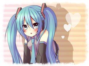 Rating: Safe Score: 37 Tags: aqua_eyes aqua_hair blush hatsune_miku long_hair tie twintails vocaloid User: HawthorneKitty
