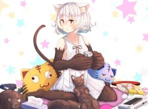 Rating: Safe Score: 72 Tags: animal animal_ears blush candy cat catgirl drink food game_console original plan_(planhaplalan) red_eyes short_hair tail white_hair User: Flandre93