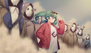 Rating: Safe Score: 29 Tags: green_eyes green_hair group hatsune_miku jenevan mask short_hair suna_no_wakusei_(vocaloid) sunglasses vocaloid User: RyuZU
