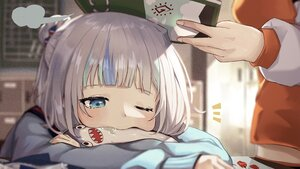 Rating: Safe Score: 45 Tags: 2girls blue_eyes blush book close gawr_gura gray_hair hololive sanada_keisui takanashi_kiara wink User: BattlequeenYume