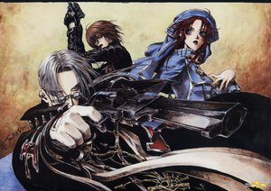 Rating: Safe Score: 7 Tags: abel_nightroad blue_eyes brown_hair dietrich_von_lohengrin esther_blanchett glasses gloves gray_hair gun nun red_hair thores_shibamoto trinity_blood weapon User: atlantiza