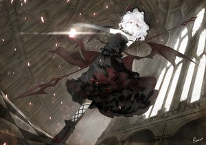 Rating: Safe Score: 212 Tags: alongriver cleavage dress goth-loli red_eyes remilia_scarlet short_hair touhou vampire weapon white_hair wings User: Wiresetc
