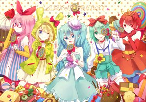 Rating: Safe Score: 25 Tags: bow candy gumi hatsune_miku kagamine_rin lollipop megurine_luka meiko pocky usami vocaloid User: HawthorneKitty