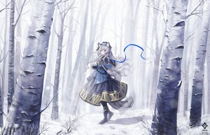 Rating: Safe Score: 55 Tags: a0lp animal_ears arknights bell braids catgirl forest gloves gray_hair long_hair pramanix_(arknights) ribbons tail tree watermark winter User: BattlequeenYume