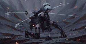 Rating: Safe Score: 53 Tags: boots guweiz katana nier nier:_automata realistic short_hair sword thighhighs weapon white_hair yorha_unit_no._2_type_b User: mattiasc02