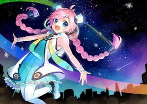 Rating: Safe Score: 13 Tags: blue_eyes braids dress long_hair night pantyhose pink_hair rana_(vocaloid) signed sky stars tagme_(artist) twintails vocaloid wristwear User: luckyluna