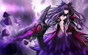 Rating: Safe Score: 240 Tags: armor breasts cleavage date_a_live elbow_gloves gloves hanshu lollipop_candy long_hair navel purple_hair red_eyes sword thighhighs weapon yatogami_tohka User: Flandre93