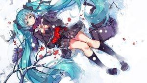 Rating: Safe Score: 109 Tags: aqua_eyes aqua_hair haraguroi_you hatsune_miku kneehighs long_hair petals scarf school_uniform skirt snow twintails vocaloid User: RyuZU