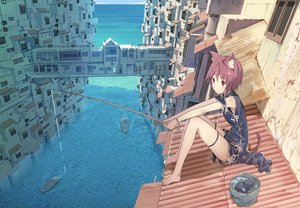 Rating: Safe Score: 297 Tags: animal_ears barefoot boat building catgirl chinese_clothes city izumi_sai original red_hair rooftop short_hair tail water User: FormX