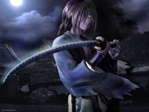 Rating: Safe Score: 26 Tags: all_male dark himura_kenshin japanese_clothes katana male moon night rurouni_kenshin scar sword weapon User: haru3173
