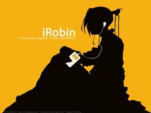 Rating: Safe Score: 5 Tags: ipod parody robin_sena silhouette witch_hunter_robin yellow User: Oyashiro-sama