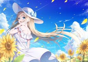 Rating: Safe Score: 57 Tags: aqua_eyes brown_hair dress flowers hat long_hair original summer_dress sunflower takemura_kou User: BattlequeenYume