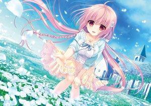 Rating: Safe Score: 63 Tags: ameto_yuki blush braids building clouds flowers game-style haru_(karenai_sekai_to_owaru_hana) karenai_sekai_to_owaru_hana long_hair necklace pink_eyes pink_hair skirt sky sweet&tea twintails User: BattlequeenYume