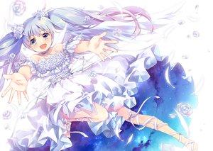 Rating: Safe Score: 60 Tags: barefoot blue_eyes blue_hair clouds dress ech flowers long_hair ribbons rose sky tama_(wixoss) twintails wixoss User: RyuZU