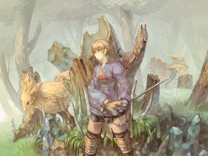 Rating: Safe Score: 24 Tags: all_male black_eyes blonde_hair chocobo final_fantasy final_fantasy_tactics forest gloves grass male ramza_beoulve red_eyes short_hair sword tree wadanaka weapon User: minabiStrikesAgain