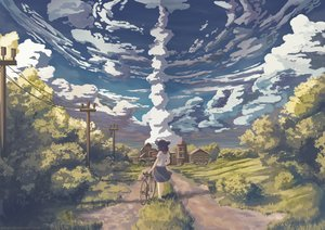 Rating: Safe Score: 115 Tags: bicycle black_hair building clouds grass landscape mion original scenic short_hair skirt sky tree watermark User: otaku_emmy