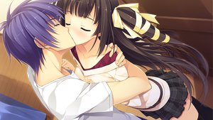 Rating: Questionable Score: 122 Tags: black_hair blush game_cg kiss koikishi_purely_kiss shidou_mana yuuki_hagure User: Wiresetc