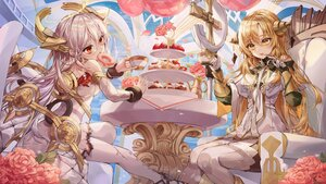 Rating: Safe Score: 45 Tags: 2girls alchemy_stars blonde_hair dress drink flowers food fruit gray_hair headdress lujang_(fudge) red_eyes sky strawberry tagme_(character) uriel_(alchemy_stars) wings yellow_eyes User: BattlequeenYume