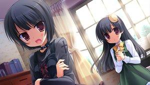 Rating: Safe Score: 47 Tags: black_hair cabbit dress game_cg gothic goth-loli loli lolita_fashion long_hair midori_no_umi pink_eyes rikuno short_hair sorane twins yukie User: Katsumi
