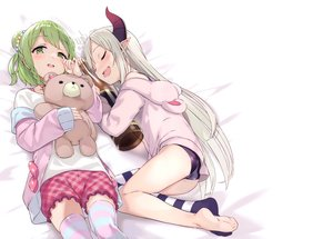Rating: Safe Score: 55 Tags: 2girls ass blush braids demon drink emma_august gray_hair green_eyes green_hair hoodie horns loli long_hair mafu9 morinaka_kazaki nijisanji pointed_ears scan short_hair shorts sleeping teddy_bear thighhighs white zettai_ryouiki User: BattlequeenYume