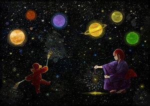 Rating: Safe Score: 47 Tags: fireworks japanese_clothes nomiya_(no_38) original planet red_hair stars teddy_bear yukata User: mattiasc02