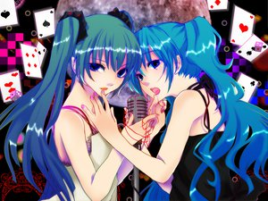 Rating: Safe Score: 69 Tags: 2girls blue_eyes blue_hair hatsune_miku honoka_(ranukirai) twintails vocaloid User: HawthorneKitty