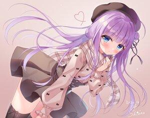 Rating: Safe Score: 86 Tags: blue_eyes blush bow dress gradient hat heart long_hair original purple_hair scarf shirt signed siooooono skirt_lift thighhighs User: lightsnow