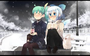 Rating: Safe Score: 100 Tags: 2girls aqua_hair blue_eyes blue_hair blush bow cirno daiyousei drink fairy food glasses newhonpo pantyhose ponytail short_hair skirt snow touhou wings winter User: Cade