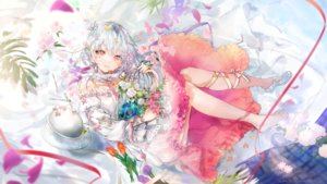 Rating: Safe Score: 62 Tags: aliasing cage dress flowers gray_hair nekojita_(ika_neko46) original petals ribbons signed User: RyuZU