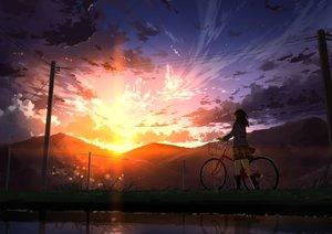 Rating: Safe Score: 45 Tags: bicycle brown_hair clouds kneehighs landscape long_hair original reflection scenic seifuku sky sunset tagme_(artist) User: BattlequeenYume