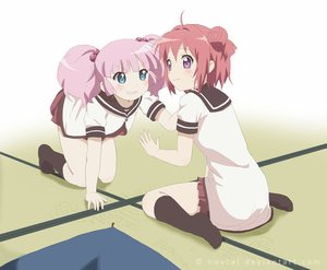 Rating: Safe Score: 71 Tags: 2girls akaza_akari aqua_eyes blush breast_grab kneehighs novcel pink_hair purple_eyes red_hair school_uniform short_hair twintails watermark yoshikawa_chinatsu yuri yuru_yuri User: mattiasc02