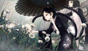 Rating: Safe Score: 146 Tags: animal_ears apron black_eyes black_hair catgirl flowers japanese_clothes kikivi kimono multiple_tails original rain short_hair tail umbrella water User: FormX