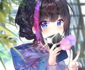 Rating: Safe Score: 97 Tags: aqua_eyes black_hair blush braids camera close cropped hoodie original phone short_hair urim_(paintur) waifu2x User: otaku_emmy