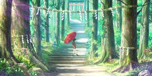 Rating: Safe Score: 105 Tags: black_hair cropped forest landscape original pigsomedom rope scenic school_uniform short_hair skirt stairs torii tree umbrella User: Nepcoheart